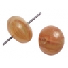 Glass Pressed Beads 8mm Round Nut Brown